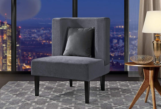 New Century® Gray Upholstered Armless Velvet Chairs With Back Cushion