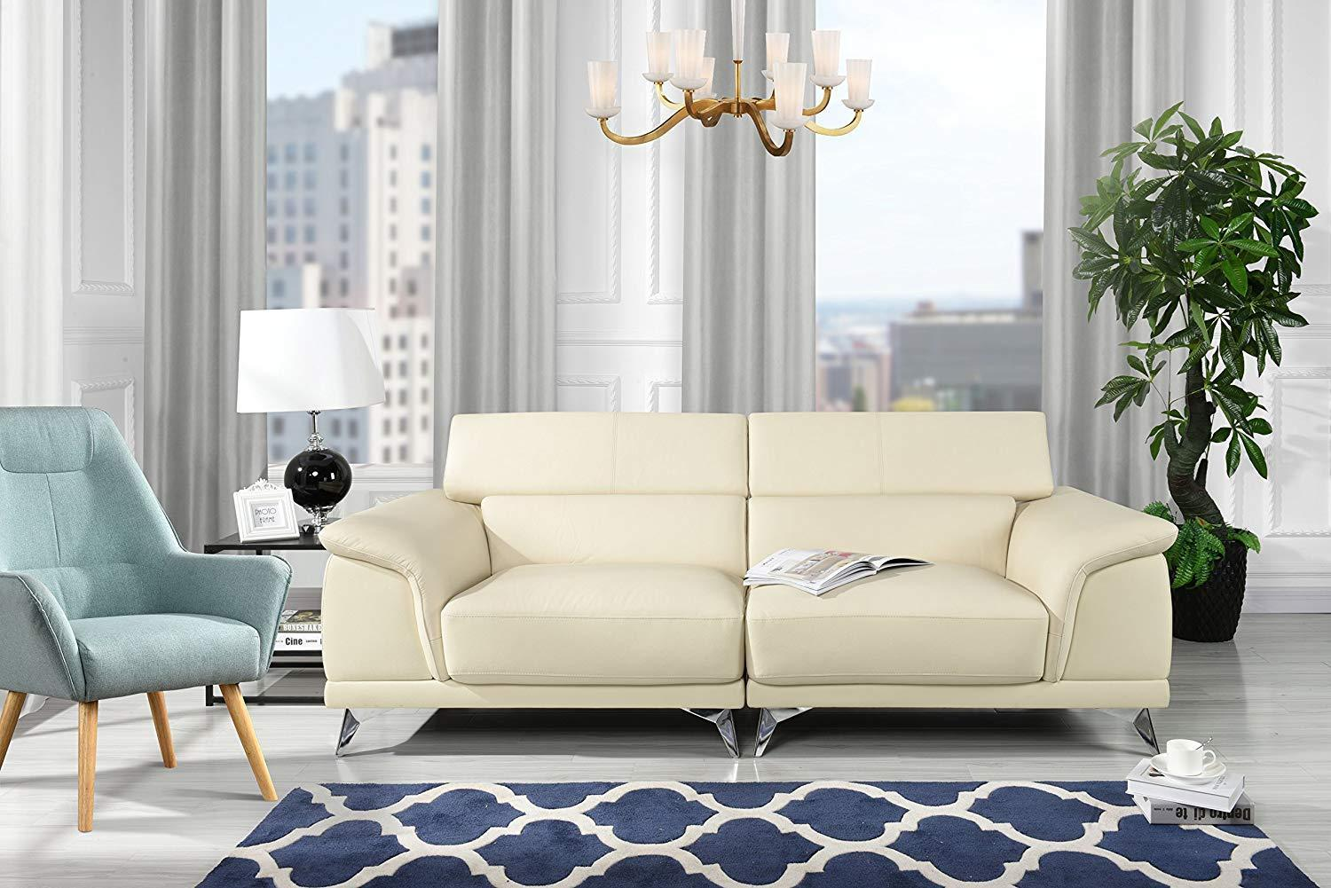 New Century® Beige Modern Living Room Sofa With Adjustable Headrest