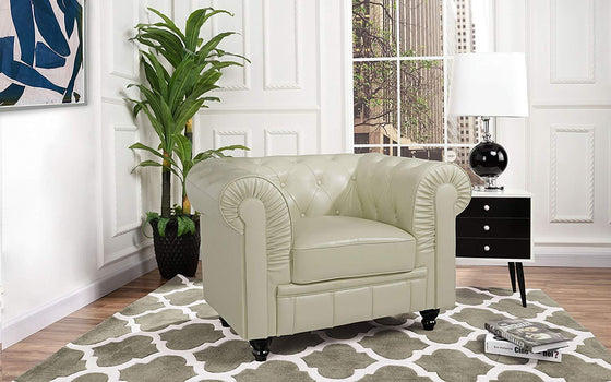 New Century® Beige Faux Tufted Leather Chesterfield Accent Chair