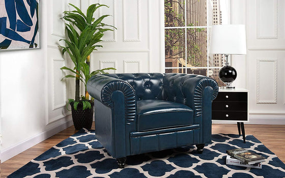 New Century® Blue Faux Tufted Leather Chesterfield Accent Chair