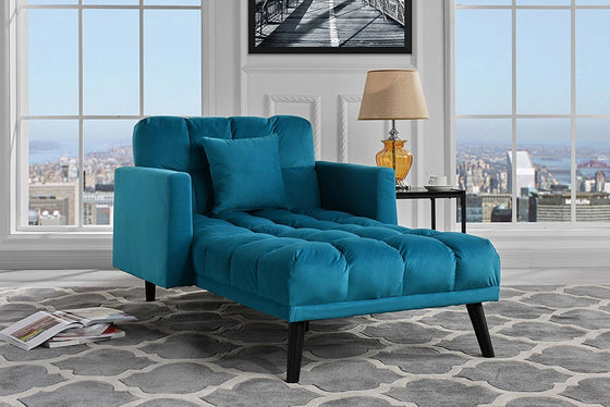 New Century® Blue Chaise Sleeper Single Seater