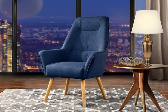 New Century® Dark Blue Upholstered Linen Accent Chairs