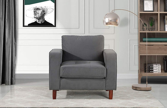 New Century® Gray Modern Velvet Accent Chair