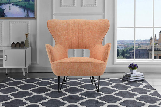 New Century® Orange Linen Fabric Arm Living Room Accent Chair