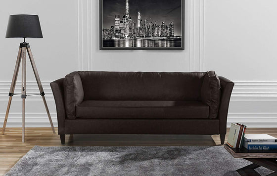 New Century® Brown Modern Style Bonded Faux Leather Sofa