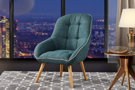 New Century® Teal Blue Upholstered Linen Accent Chair