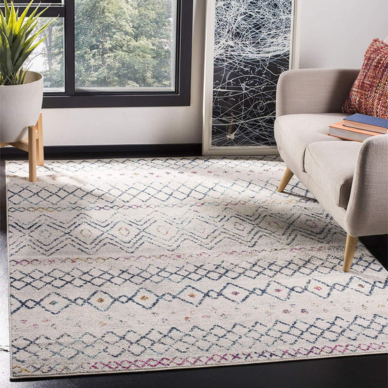 0119 Ivory Navy Tribal Contemporary Area Rugs