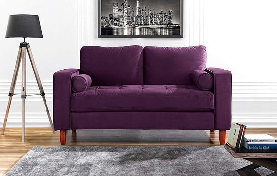New Century® Purple Tufted Velvet Love Seat Sofa