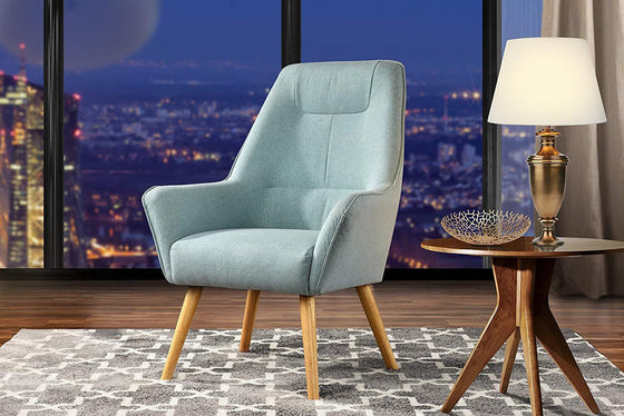 New Century® Light Blue Upholstered Linen Accent Chairs