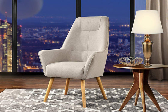 New Century® Beige Upholstered Linen Accent Chairs