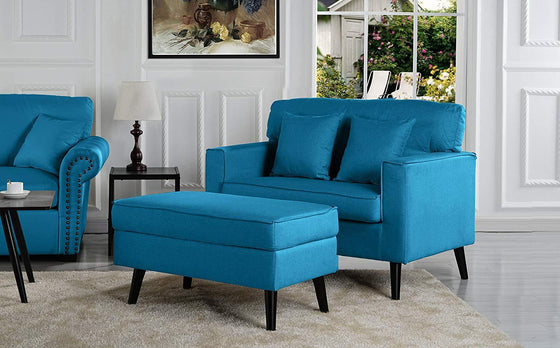 New Century® Blue Modern Living Room Accent Chair With Storage Ottoman