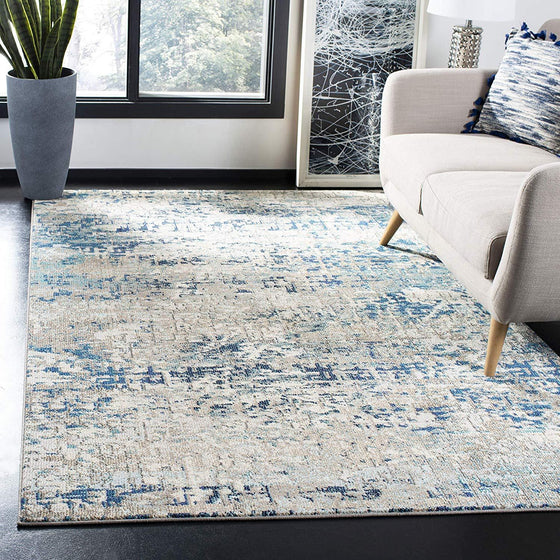 0110 Gray Blue Distressed Abstract Contemporary Area Rugs