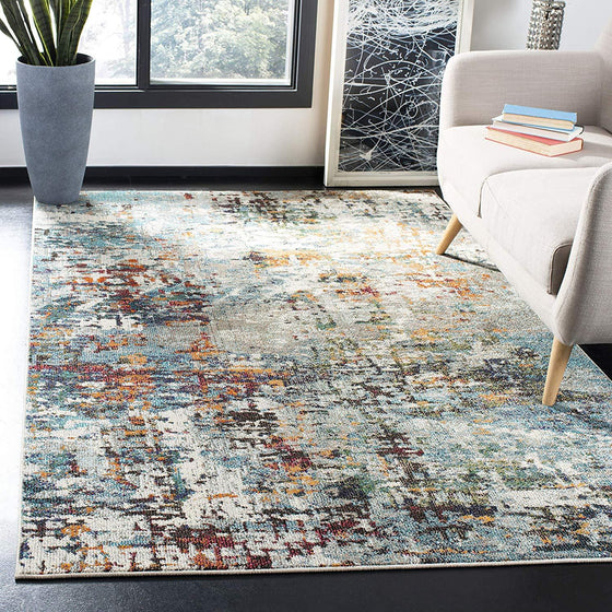 0113 Blue Gray Abstract Contemporary Area Rugs
