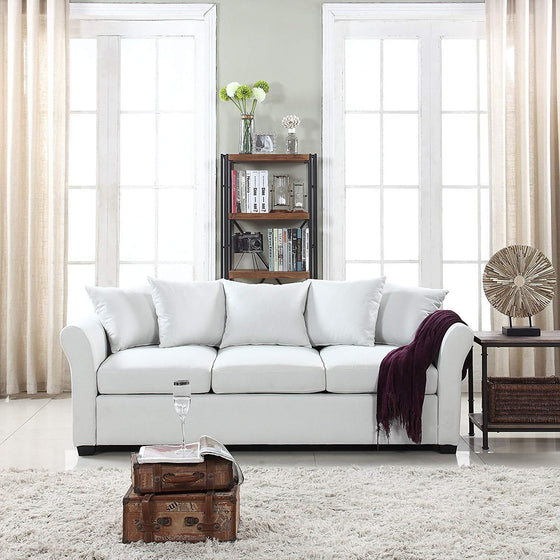 New Century® Beige Traditional Comfortable Linen Sofa