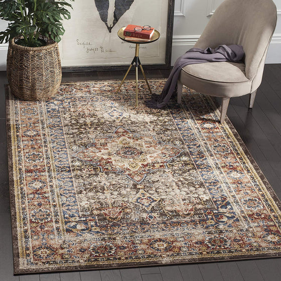 0127 Brown Distressed Vintage Oriental Area Rugs