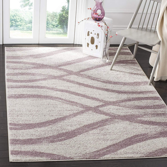 0107 Ivory Purple Modern Contemporary Area Rugs