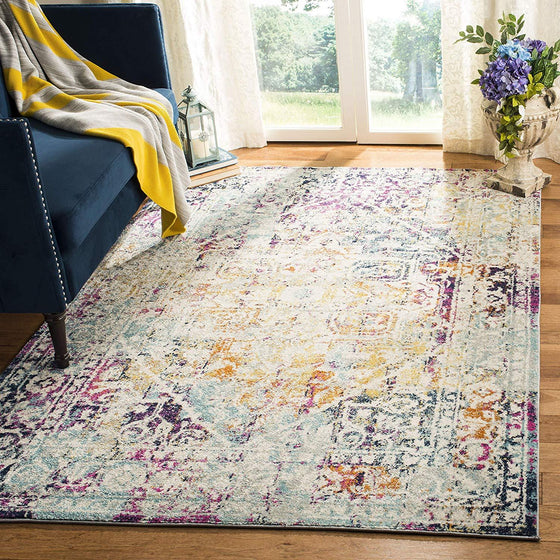 0132 Fuchsia Multi Color Distressed Oriental Area Rugs