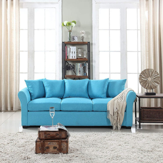 New Century® Light Blue Traditional Comfortable Linen Sofa