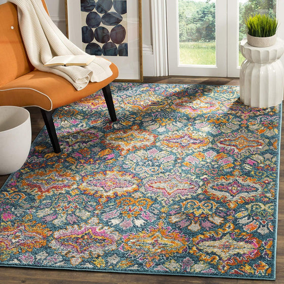 0122 Blue Orange Bohemian Damask Distressed Area Rugs
