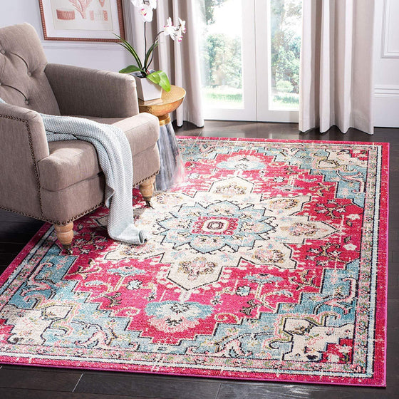 0114 Fuchsia Medallion Vintage Distressed Oriental Area Rugs