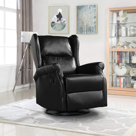 New Century® Black Faux Leather Reclining Swivel Accent Chair For Living Room