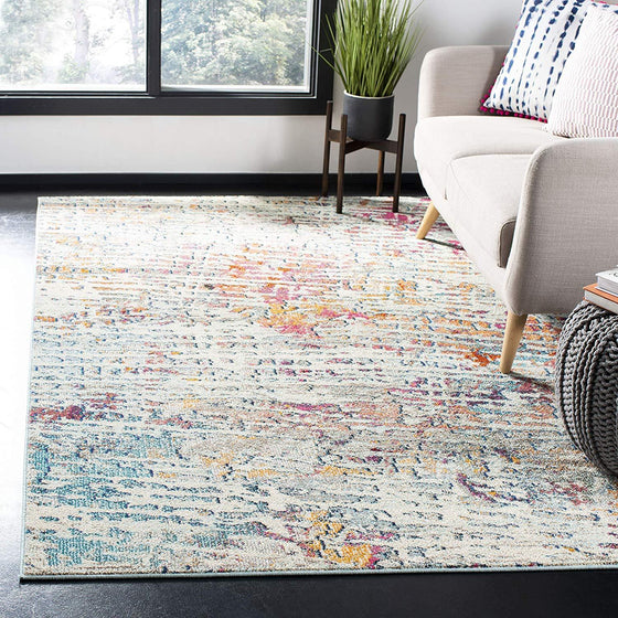 0117 Light Blue Abstract Contemporary Area Rugs