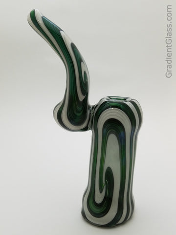 Green White Glass Bubbler Wigwag Bowl - GradientGlass - Glass Bubbler - 4