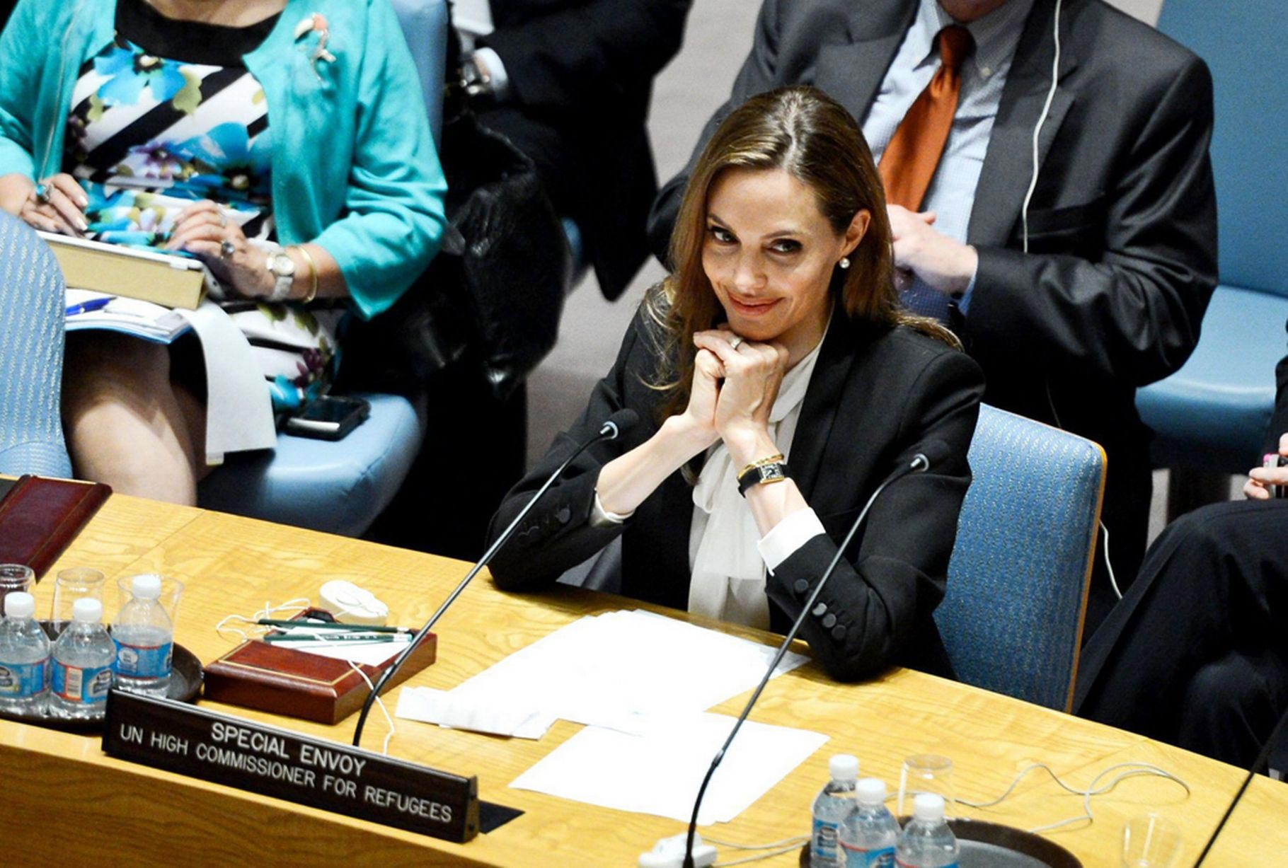 Angelina Jolie addressing the United Nations.