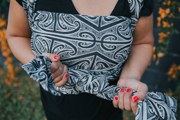 Aroha Mutunga Kore 'Mamaku' - woven wrap - artist collaboration with House of Natives Ta Moko - Aroha Textiles