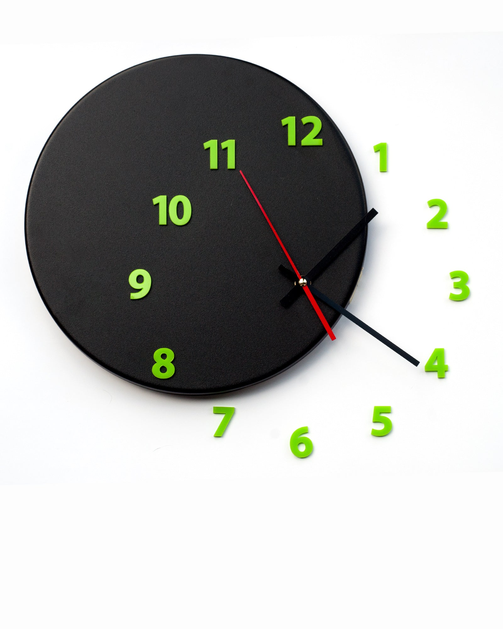 Wall clock out of time blackgreen light4dark ccuart Choice Image