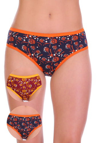 Sona Comfortable Cotton Multicolor Hipster Plus Size  Panties 92002 combo pack of 3