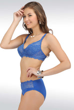 Salsa Lace Blue Full Coverage Non Padded Bra & Panty Sets