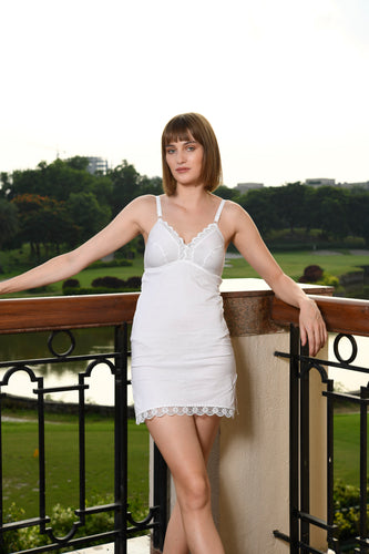 Sona Beauty-Care Girl White Cotton Short Night Dress nighty, Suit Slip & Camisole