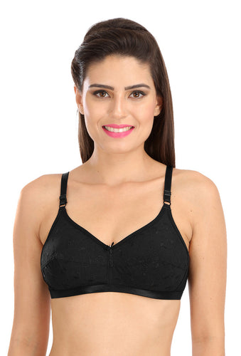 Black C-1212 Women Cotton Chiken Fabric Cotton Full coverage Bra - Sona Lingeries
