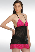 L-124 Hot-Pink Net Lace Design Baby-doll Nightwear Teddies Lingerie With Panty (Free Size)