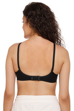 Sona M1001 Women Black Everyday Non padded T-Shirt Bra With Transparent Strap
