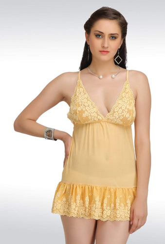N-138 Orange Net Babydoll Nightwear Lingerie dress with Panty (Free Size)