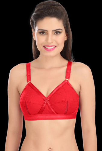 Perfecto Red Color Full Cup Everyday Plus Size Cotton Bra
