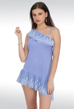 S-120 Blue Satin Babydoll Nightwear Lingerie dress with Panty (Free Size)