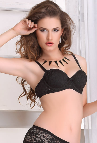Salsa 36 Women Black Lace Wire Free T-Shirt Padded Bra BUY 2 GET 2 FREE