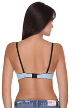 Women's SA-50 Blue Padded Non-Wired T-Shirt Bra Seamless with Detachable Straps