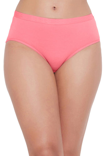 Sona Comfortable Cotton Plain Hipster Plus Size Coral Panties