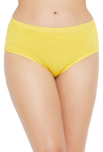 Sona Comfortable Cotton Plain Hipster Plus Size Yellow Panties