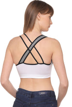 SONAEBUY, CH SPORTS BRA, HIGH IMPACT SPORTS BRA, BLACK SKIN WHITE ADJUSTABLE STRAP