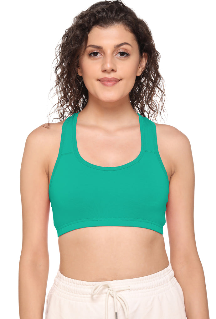 Sona Women Everyday Full Coverage Non padded Plus Size Stylish Racer back Sports Bra 012-Green