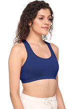 Sona Women Everyday Full Coverage Non padded Plus Size Stylish Racer back Sports Bra 012-Royal Blue