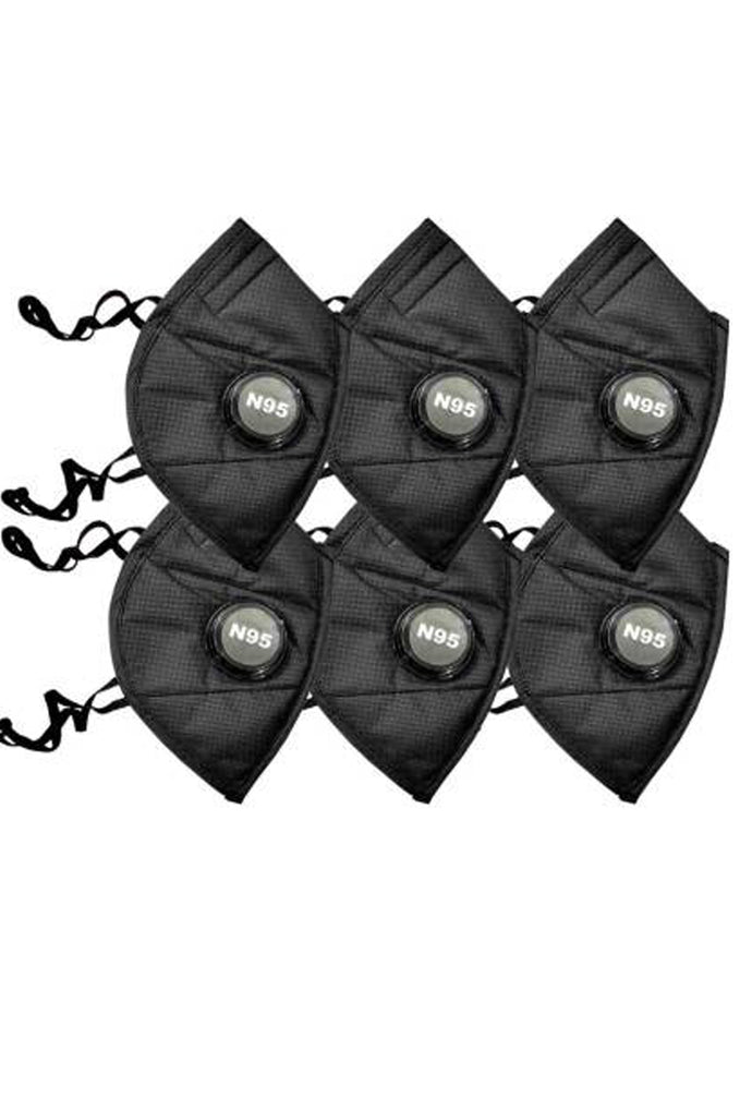 Sona Anti-Pollution N95 Black Mask Capacity 5 Layered Mask Pack of 6