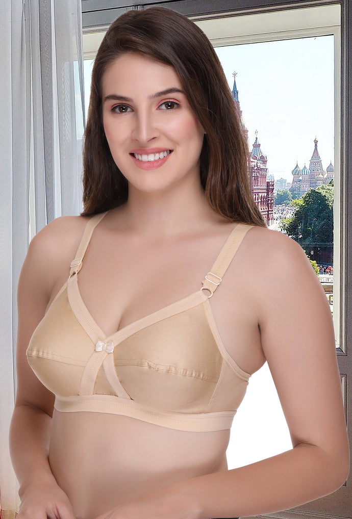 Women Cotton Full Coverage Bra Fit Cross Non Padded
