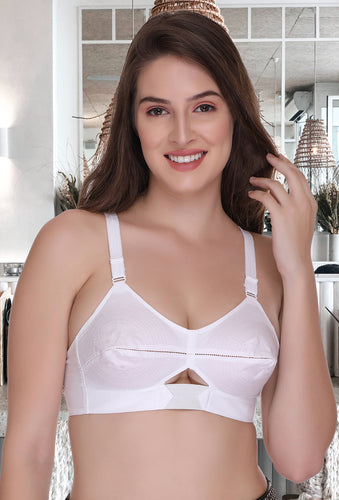 Moving Elastic Strap Full Cup Plus Size White Cotton Bra - Sona Lingeries