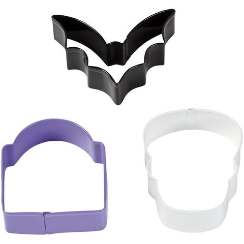 Bat, Tombstone and Skull Halloween Cookie Cutter Set